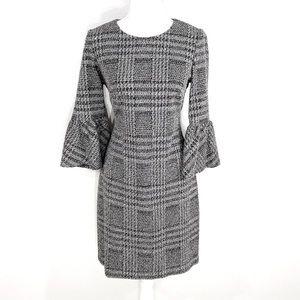 Calvin Klein black white plaid bell sleeve dress